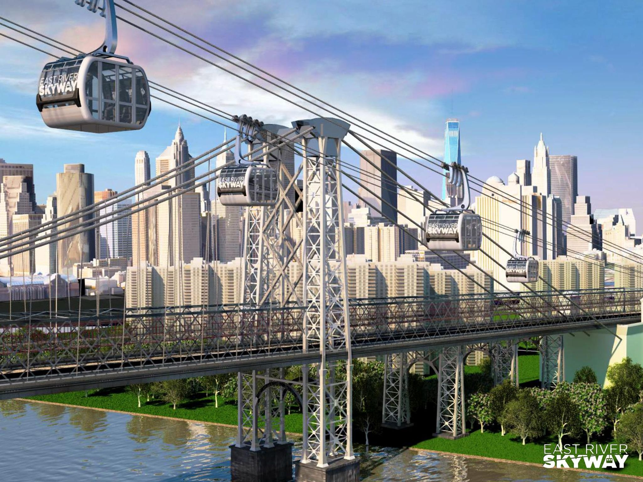 A mock-up of what the proposed Aerial Gondola System will look like