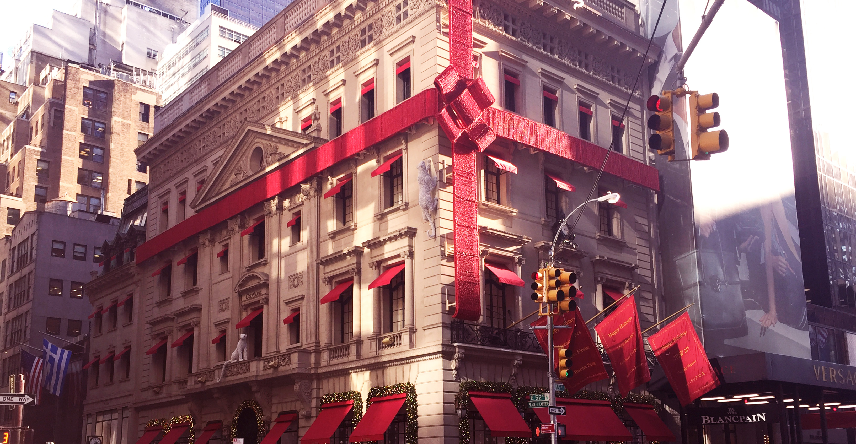 Cartier's iconic window display on 5th Avenue hinting that a package from them will make your holiday that much more magical.