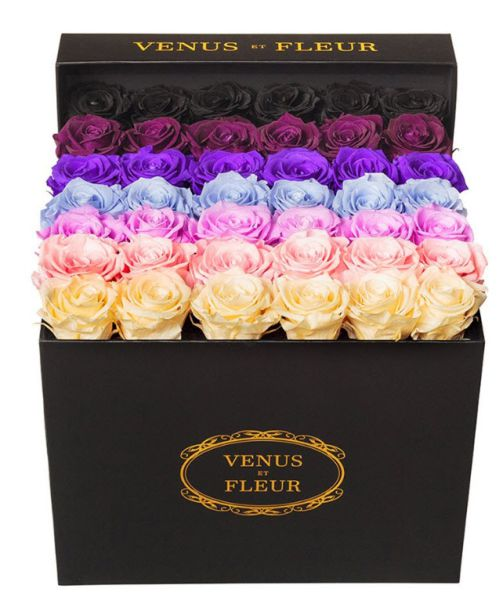 A wildly colorful box of long-lasting roses from Venus et Fleur